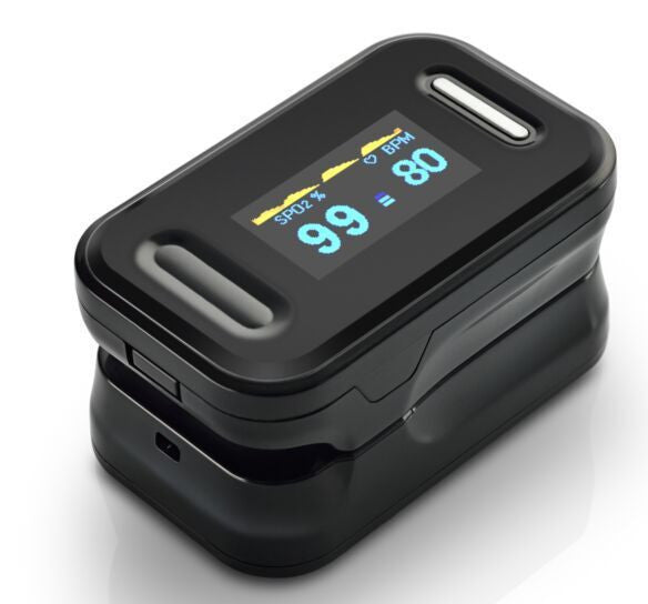 Generation 2 SM-165 Fingertip Pulse Oximeter Oximetry Blood Oxygen Saturation Monitor with carrying case, batteries and lanyard
