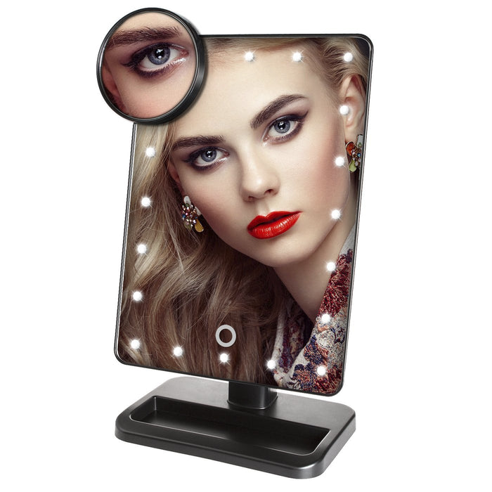 Makeup Mirror 20 LED Lighted Vanity Mirror with Touch Screen and Detachable 10X Magnifying Spot Mirror
