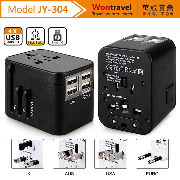 LED Universal World Travel Adapter with 2.4A Dual USB Ports for UK, US, AU, Europe& Asia 150+ International Countries All in One Plug Adapter USB Power Adapter for All USB Devices