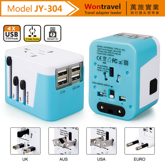 nternational Travel Adapter 4 USB Charging Port Smart Wall Charger, All-in-one Universal Plug (US/JP UK EU AU/CN) w/ Worldwide Outlets & AC Socket - Surge Protector