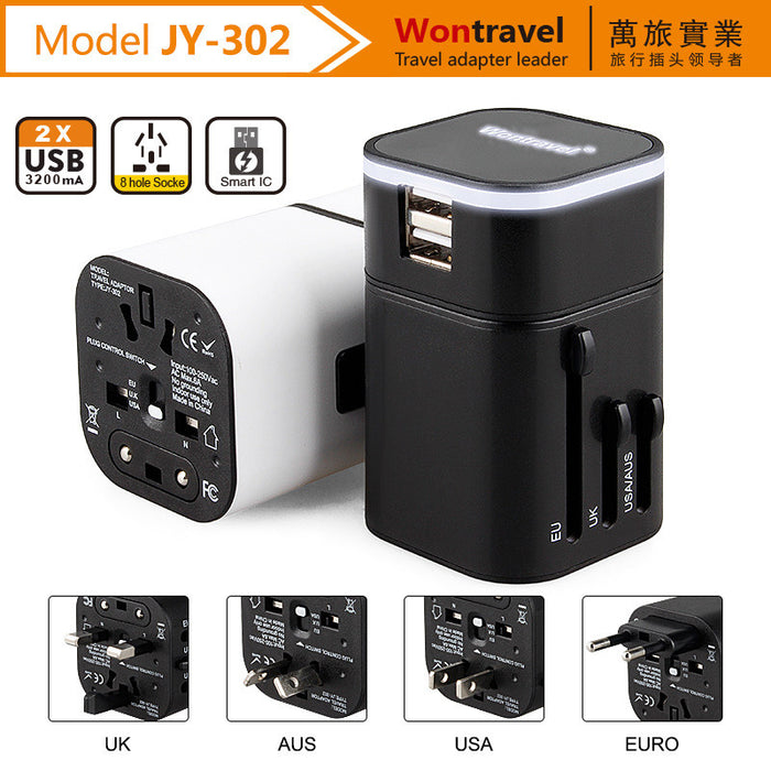 Travel Adapter, Worldwide All in One Universal Power Converters Wall AC Power Plug Adapter Power Plug Wall Charger with Dual USB Charging Ports for USA EU UK AU – Gift Pouch