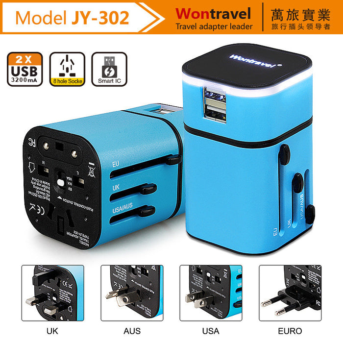 Travel Adapter, Universal All in One Worldwide Travel Adapter Power Converters Wall Charger AC Power Plug Adapter with Dual USB Charging Ports for USA Eu Uk AUS