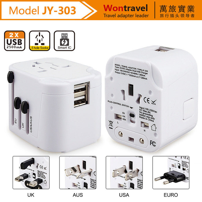 Travel Adapter, International Travel Charger Adapter World Plug Adapter Built-in 2.4A Dual USB Ports - Universal AC Socket - Safety Fuse