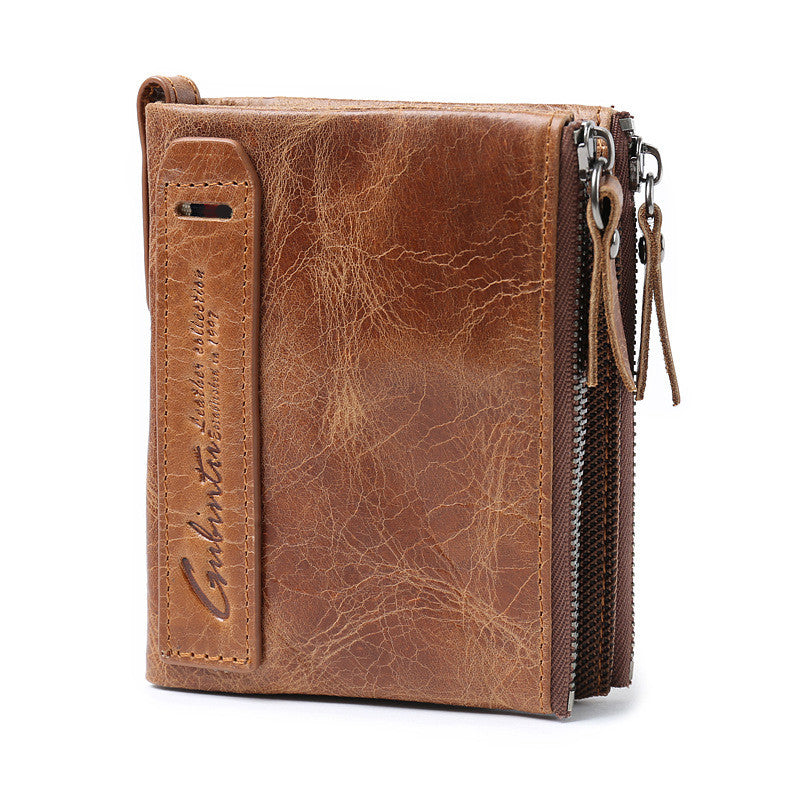 Men Genuine Leather Cowhide Zip Wallet Vintage Bifold with Double Zipper Pockets