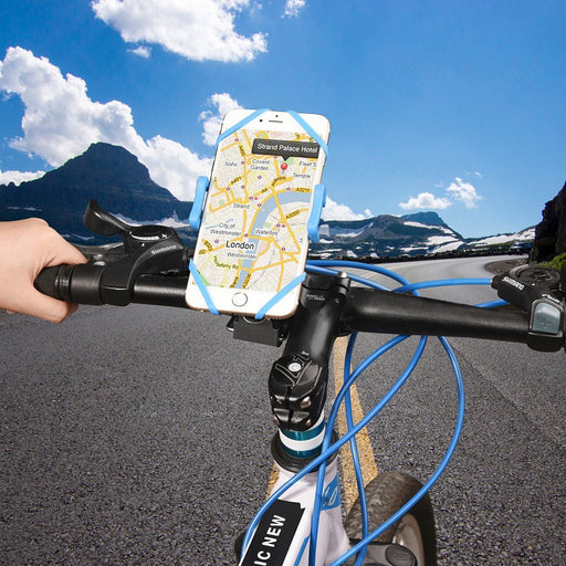 Bike Phone Mount Bicycle Holder, Universal Cradle Clamp for iOS Android Smartphone, Boating GPS, Other Devices, with One-button Released, 360 Degrees Rotatable, Rubber Strap