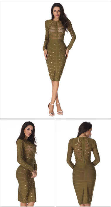 Women winter Bodycon party Dress Olive Mesh Black Gray Red Knee-length Celebrity Long sleeve Bandage Dress Wholesale
