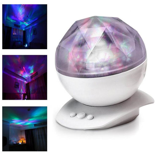 Rotation Sleep Soothing Color Changing Aurora Night Light Projector with Build-in Speaker, Relaxing Light Show, Mood Light for Baby Nursery, Adults and Kids Bedroom, Living Room (White)