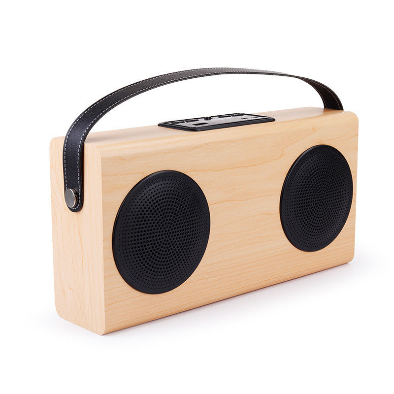 Portable Bluetooth Speaker, Wood Grain Wireless Home Bookshelf Speakers with Enhanced Bass and 4000mAh External Battery to Charge iPhone, Samsung and other Smart Phones