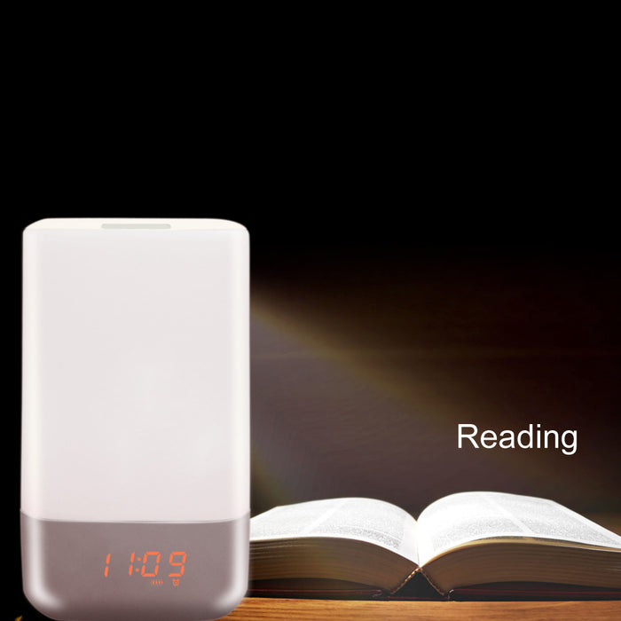 ED Night Light Wake Up Light Alarm Clock with Sunrise Simulation 3 Brightness and 5 Natural Sounds USB Rechargeable Touch Light Smart Lamp Color Changing RGB Beside Lamp for Bedroom