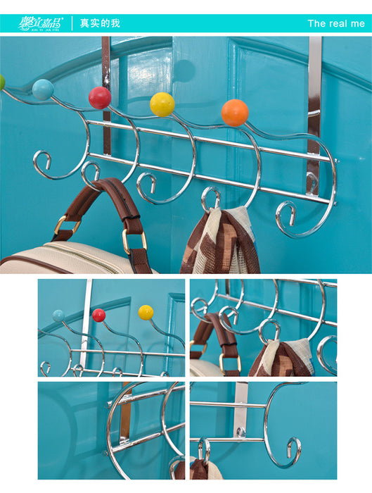 Over the Door Organizer Hooks for Coats, Hats, Robes, Towels - 6 Hooks, Pearl