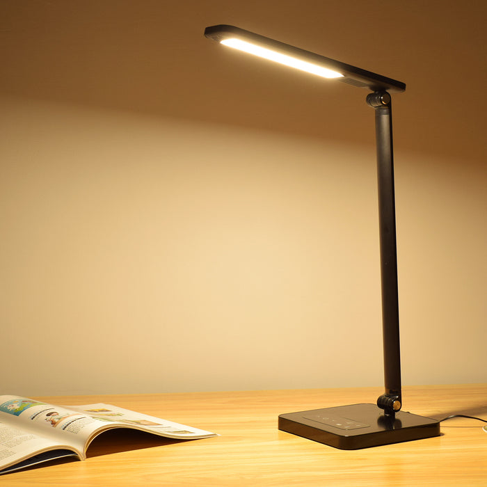 LED Desk Lamp Eye-caring Table Lamps, Dimmable Office Lamp with USB Charging Port
