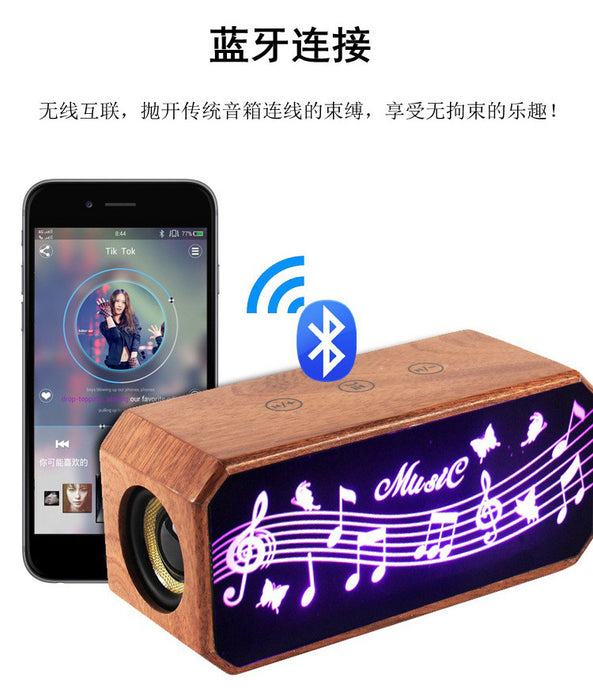 Portable Wireless Wooden Bluetooth Speaker, 3W Output Bluetooth Loudspeaker with Enhanced Bass, Compatible with iPhone, iPad, Samsung and More