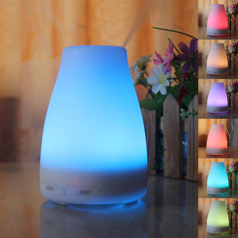 2nd Version Essential Oil Diffuser, 100ml Aroma Essential Oil Cool Mist Humidifier with Adjustable Mist Mode,Waterless Auto Shut-off and 7 Color LED Lights Changing for Home Office Baby