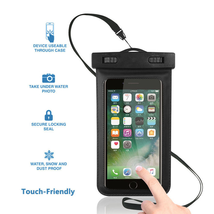 Waterproof Case,Cell Phone Universal Dry Bag Pouch (Floatable) with Headphone Jack+Lanyard+Armband [Clear] for Apple iPhone 7 6 Plus,Samsung S8 S7 S6 edge, Smartphone Devices Up To 6.0""