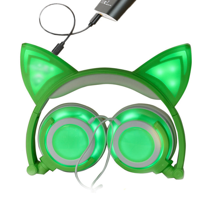 Cat Ear Headphones, Flashing Glowing Cosplay Fancy Cat Headphones Foldable Over-Ear Gaming Headsets Earphone with LED Flash light for iPhone 7/6S/iPad,Android Mobile Phone,Macbook