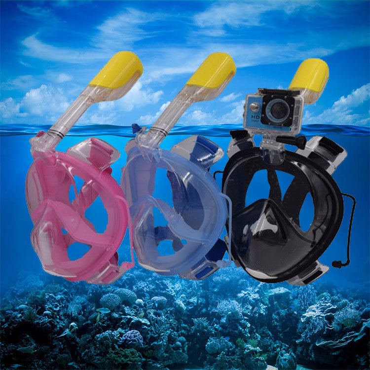 180°Full Face Snorkel Mask with Panoramic View Anti-Fog, Anti-Leak with Adjustable Head Straps with longer Snorkeling Tube Larger Area