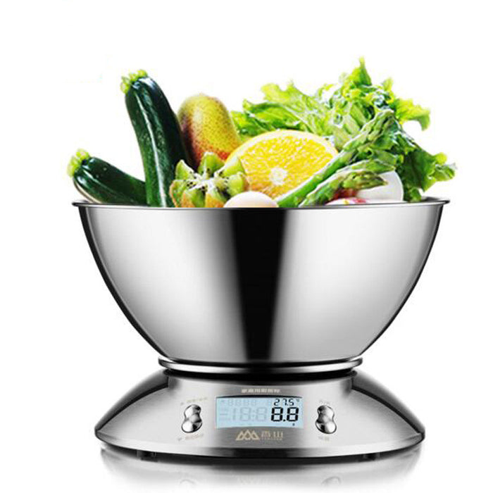 Digital Kitchen Scale 11lb/5kg Accuracy Food Scale Multifunction Kitchen Scale with Bowl, Stainless Steel, 2.15L Liquid Volume, Alarm Timer, Temperature, Backlight LCD Display