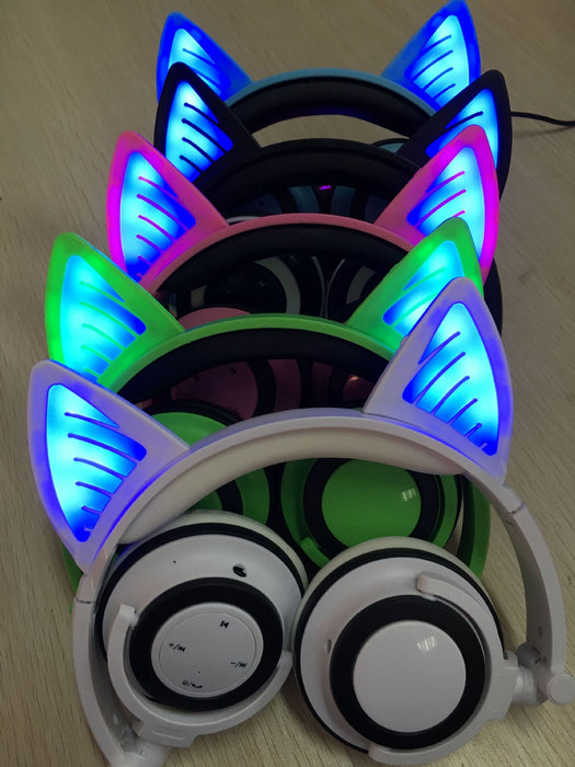 oldable Wired Over Ear Kids Headphone with Glowing Light for Girls Children Cosplay Fans,Cat Ear Headphones