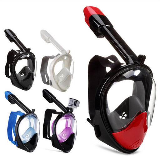 Model Full Face Snorkel Mask - 180 Panoramic View - Anti-Fog & Tubeless No Gag Design - Extra Long Snorkel - For Beginners & Experts