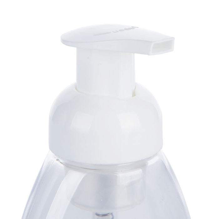 4, Clear, 8.5 oz (250 ml), Oval, Plastic Foaming Soap Dispensers, with White Pumps