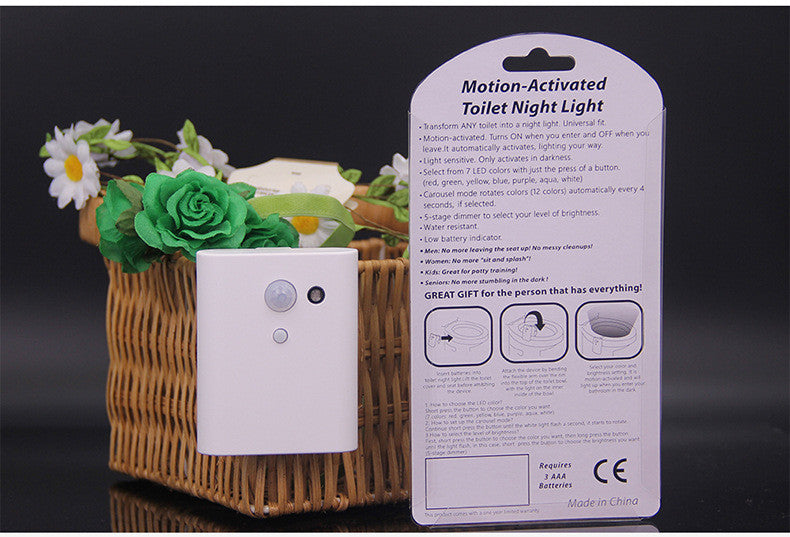 Toilet Night Light, Motion Activated Toilet Night Light, Two Modes with 7 Color Changing - Sensor LED Washroom Night Light - Fits Any Toilet