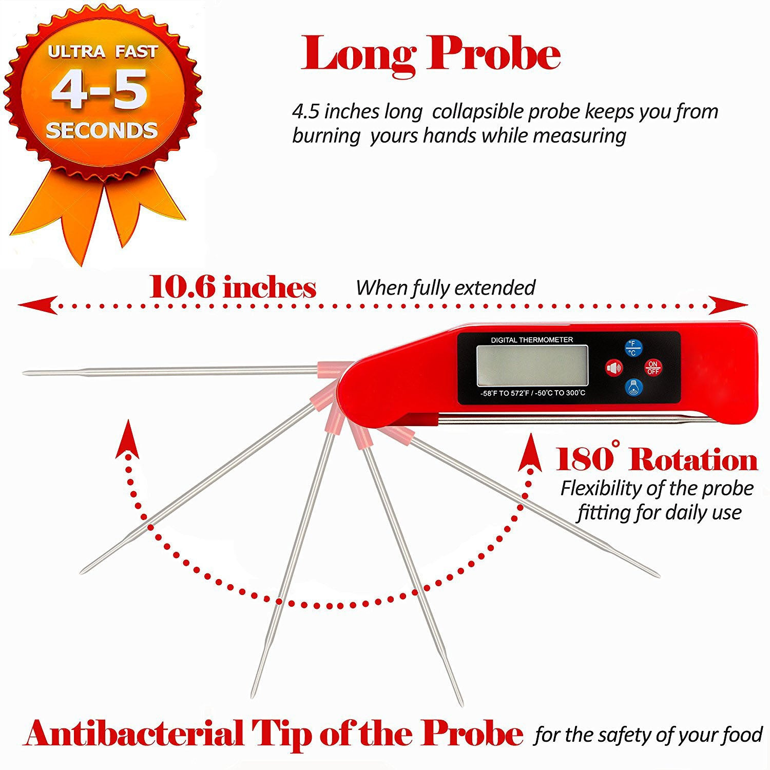 Instant Read Meat Thermometer For Grill And Cooking  UPGRADED MODEL NOW  WITH MAGNET AND CALIBRATION FEATURE  Best Ultra Fast Digital Kitchen Probe