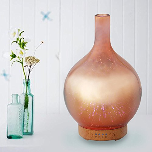 Rose Gold Essential Oil Diffuser 3D Glass Aromatherapy Ultrasonic Humidifier - 7 Color Changing LEDs, Waterless Auto-Off,Timer Setting, BPA Free for Home Hotel Yoga Leisure SPA Gift 100ml