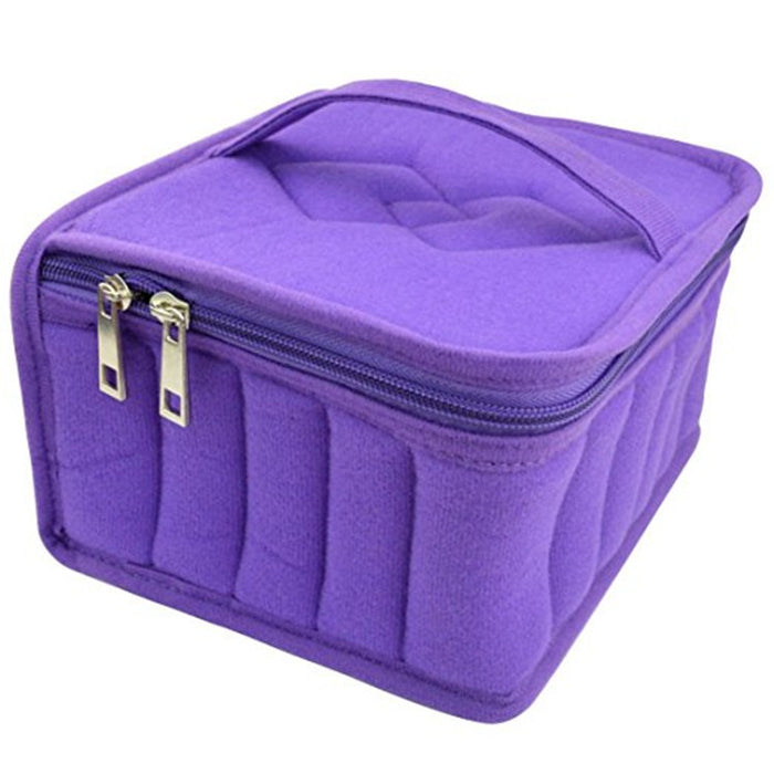 30-Bottle Essential Oil Carrying Case - Oil Cases for Essential Oils - Portable Handle Bag for Travel and Home - Sturdy Zippers – Holds 5ml, 10ml, 15ml and Roll-Ons Bottles (Purple)