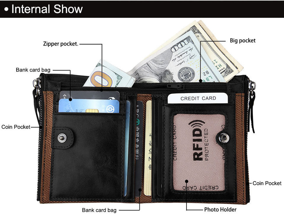 Men's ID Wallet Genuine Leather Billfold Large Capacity with Zippers