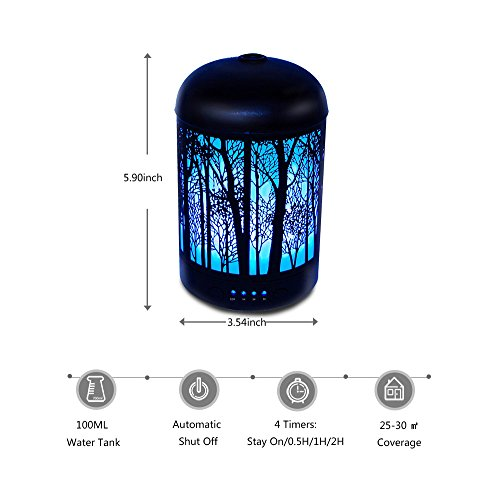 Essential Oil Diffuser, 100ML Metal Forest Diffusers for Essential Oils, Waterless Auto Shut-Off and 7 Color LED Lights Changing for Home Office Baby