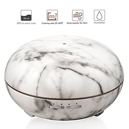 Essential Oil Diffuser, 300ml Marble Grain Air Aromatherapy Ultrasonic Aroma Cool Mist Humidifier with 7 Color LED Lights for Office Home Bedroom Fitness Room Study Yoga Spa (Marble Grain)