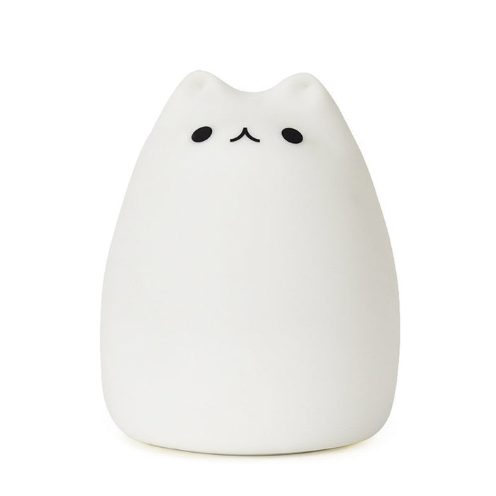 Cute Kitty LED Children Night Light Kids Silicone Cat Lamp 7-Color Flashing USB Rechargeable Lighting, Warm White Light