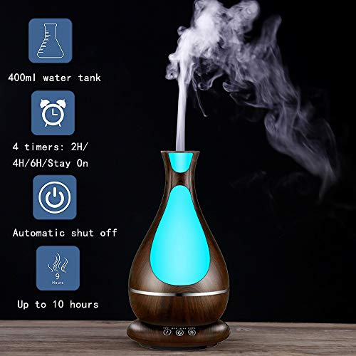 Essential Oil Diffuser 400mL Aromatherapy Diffusers Ultrasonic Aroma Humidifier Air Purifier (Up to 10H Use, Mist Control, Waterless Auto Shut-Off, 3 Timer Settings, 7 Color LED Lights) (Dark Grain)