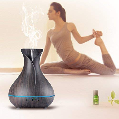 Aroma Essential Oil Diffuser, Appreciis 400ml Ultrasonic Cool Mist Humidifier with Color LED Lights Changing for Home, Yoga, Office, Spa, Bedroom, Baby Room - Wood Grain