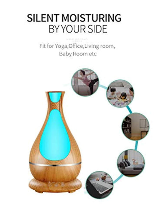 Essential Oil Diffuser 400mL Aromatherapy Diffusers Ultrasonic Aroma Humidifier Air Purifier (Up to 10H Use, Mist Control, Waterless Auto Shut-Off, 3 Timer Settings, 7 Color LED Lights) (Wood Grain)