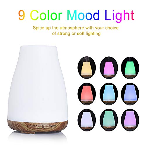 150ml Aroma Diffuser, Essential Oil Diffuser Aromatherapy with Colorful LED Lights, Ultrasonic Cool Mist Humidifier for Yoga, Office, Spa.
