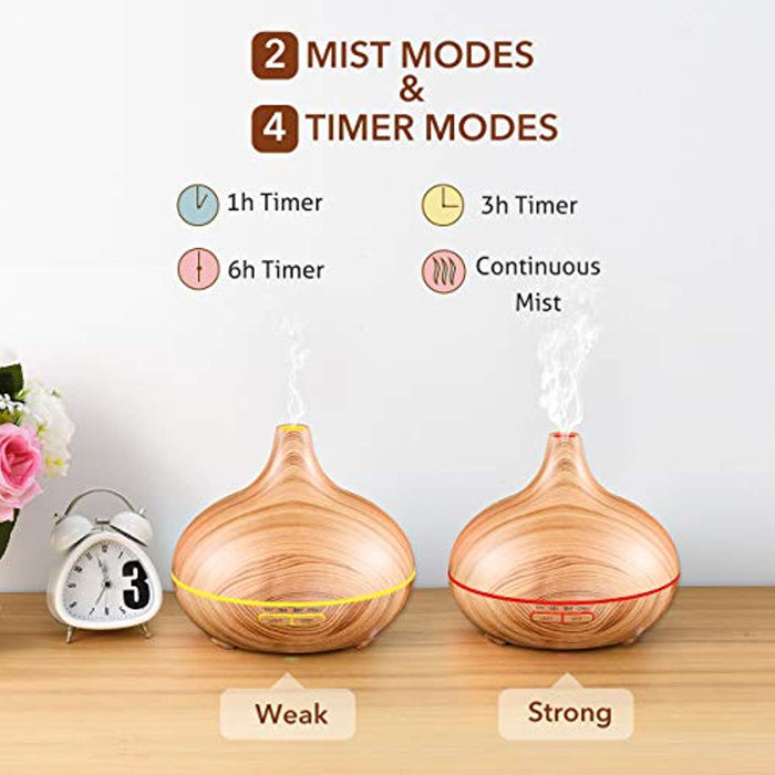 Aromatherapy Diffuser, 300ml Essential Oil Diffuser Aroma Diffuser, Electric Ultrasonic Humidifier with Cool Mist, Waterless Auto-Off, Whisper-Quiet and 7 Colorful LED Lights - Wood Grain