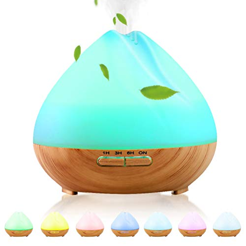 Essential Oil Diffuser, 400ml Ultrasonic Aroma Humidifier with 7 Color LED Lights | Aromatherapy diffusers Auto Waterless Shut-Off | 3 Timer Cool Mist Diffuser | BPA-Free Air Humidifier for Baby Room
