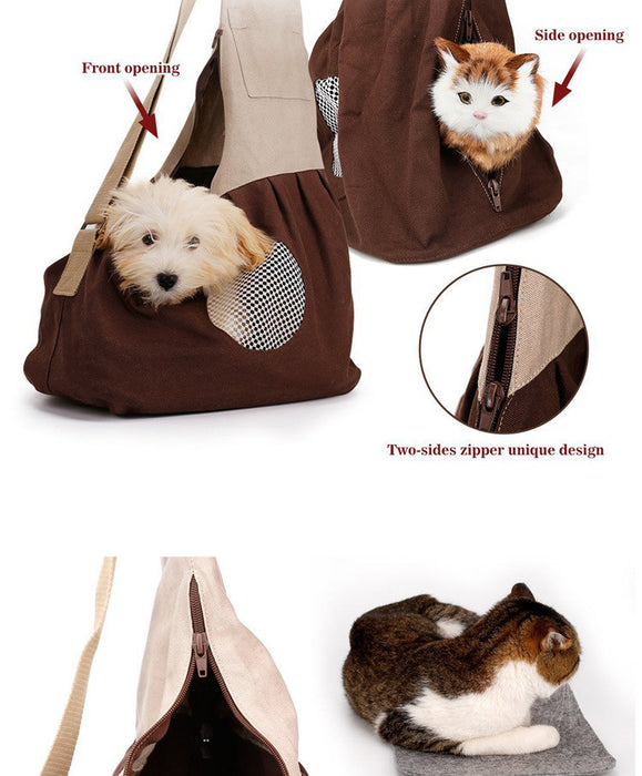 Hands-free Reversible Small Dog Cat Sling Carrier Bag Travel Tote Soft Comfortable Puppy  Rabbit Double-sided Pouch Shoulder Carry Tote Handbag