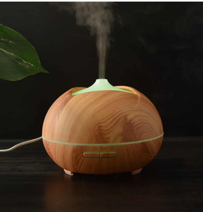 Essential Oil Diffuser-300ML Ultrasonic Aroma Diffuser ,Wood Grain Humidifier Cool Mist Diffusers with 7 Color LED Lights for Home Yoga Office,Waterless Auto Shut-off
