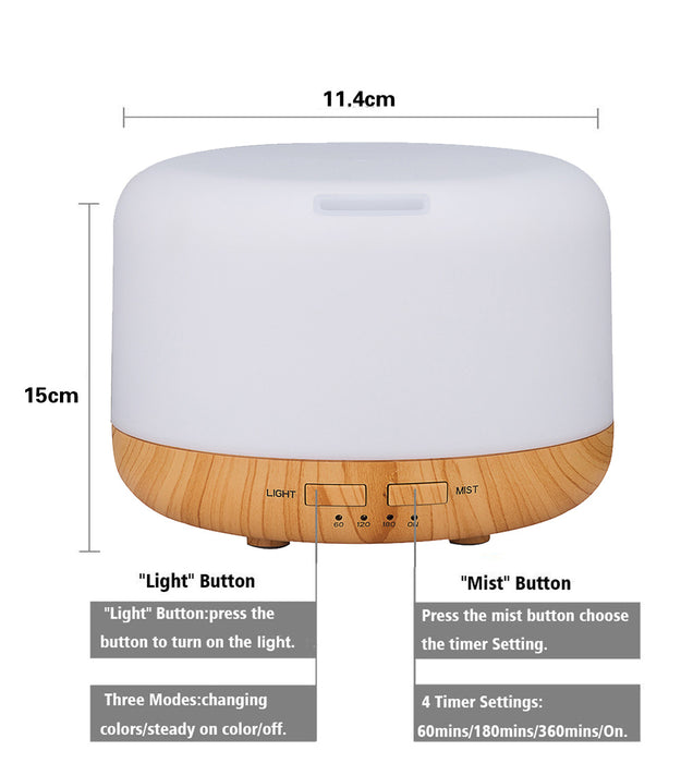 400ml Aromatherapy Essential Oil Diffuser Cool Mist Humidifier Waterless Auto Shut-off with 4 Timers and 7 LED Color Changing Lights