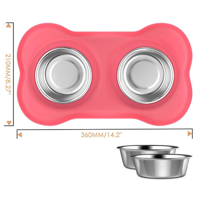 Dog Bowls Stainless Steel Dog Bowl with No Spill Non-Skid Silicone Mat 53 oz Feeder Bowls Pet Bowl for Dogs Cats and Pets