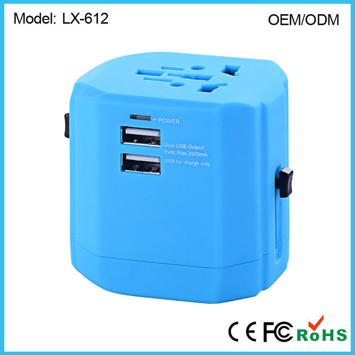 International Travel Power Adapter with 2.4A Dual USB Charger & Worldwide AC Wall Outlet Plugs for UK, US, AU, Europe & Asia - Built-in Spare Fuse, Gift Pouch -