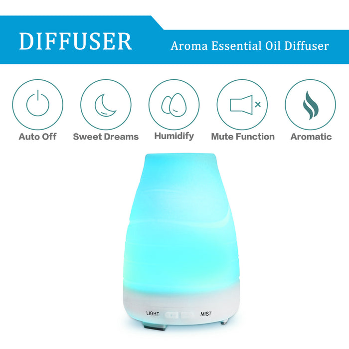 Aromatherapy Essential Oil Diffuser, 100ml Ultrasonic Cool Mist Humidifier with Adjustable Mist Mode, 7 Color LED Lights and Waterless Auto Shut-off for Home Office Bedroom