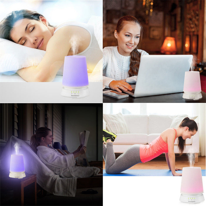 Essential Oil Diffuser 120ML Cool Mist Humidifier with Adjustable Mist Mode 7 LED Color Changing and Waterless Auto Shut-off Function for Home Office Bedroom Room