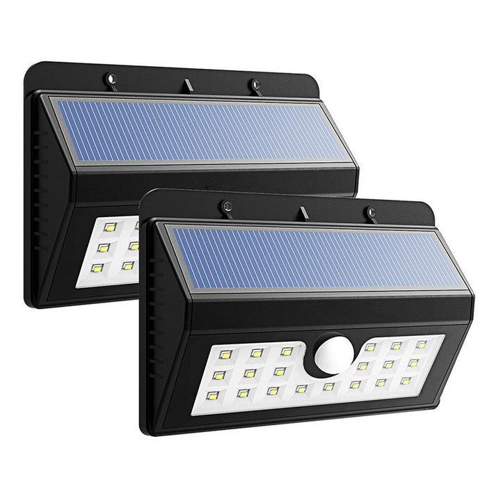 24 LED Outdoor Motion Sensor Solar Light,3 Modes Security Lights with 3 LEDs Both Side Wireless Waterproof for Deck,Yard,Garden,Patio,Driveway,Outside Wall with Wide Angle Sensor,White Light