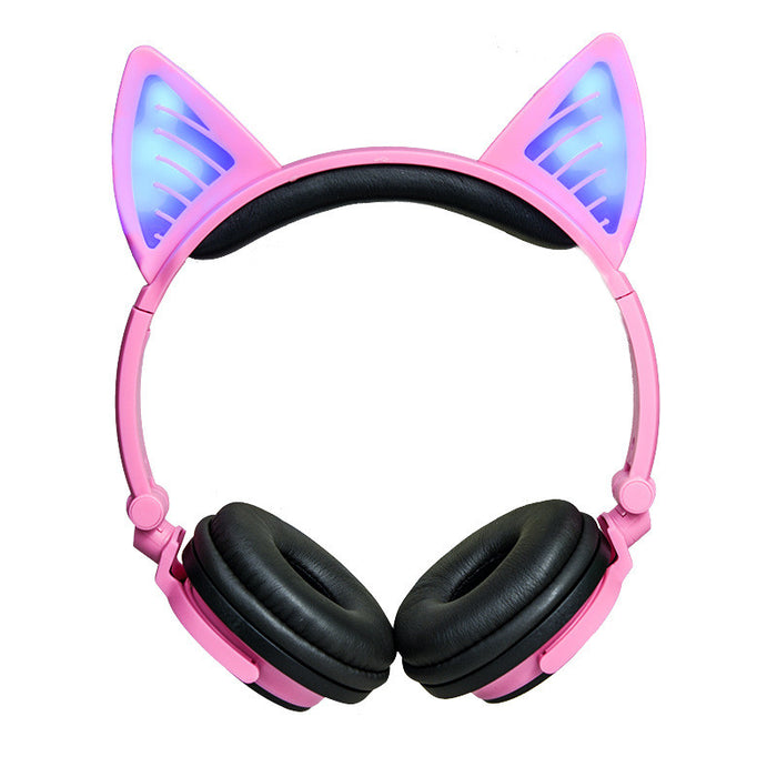 Wired Cat Ear Kids Headphones,Flashing Glowing Cosplay Fancy Foldable Over Ear Headsets with Led Light Up / 3.5mm Earphone for Kids,Children,Girls ,Boys