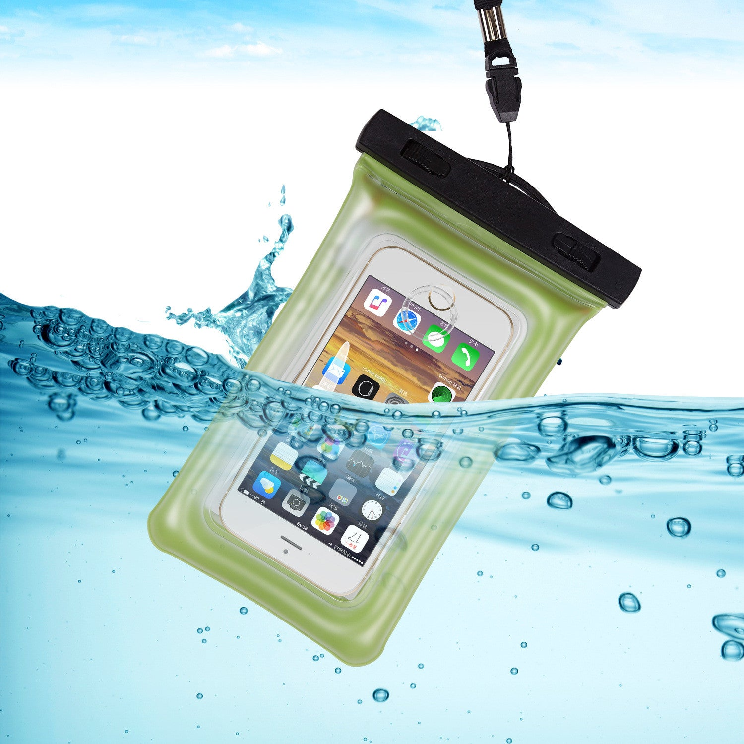 "Universal Waterproof Case Clear Dry Case Compatible with iPhone 7 /7PHome Button, For Water Activities, Skiing, Protect iPhone Samsung HTC LG Sony Nokia Motorola up to 5.5"" Diagonal"