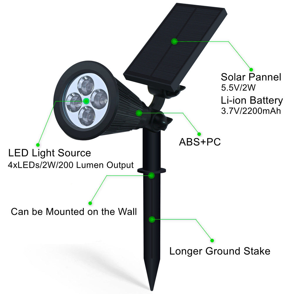 Solar Lights,2-in-1 Waterproof 4 LED Solar Spotlight Adjustable Wall Light Landscape Light Security Lighting Dark Sensing Auto On/Off for Patio Deck Yard Garden Driveway Pool Area
