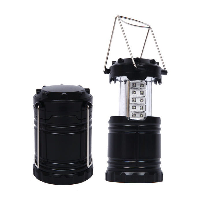 2 Pack Portable Outdoor LED Camping Lantern with 12 AA Batteries (Black, Collapsible)